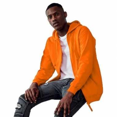 Oranje hooded vest/jasje voor heren