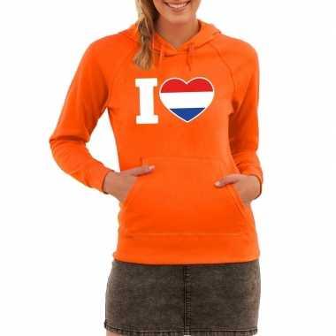 Oranje i love holland sweater met capuchon dames