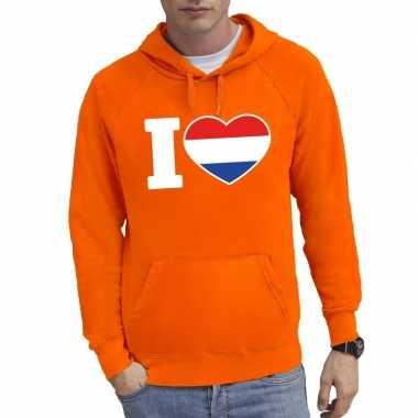 Oranje i love holland sweater met capuchon heren