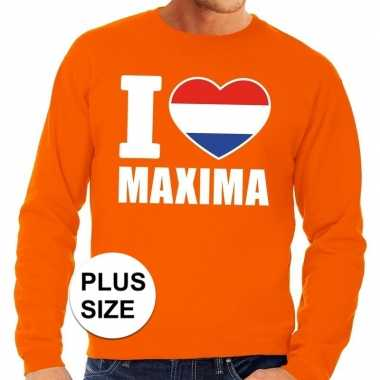 Oranje i love maxima grote maten sweater / trui heren