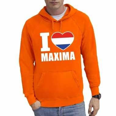 Oranje i love maxima sweater met capuchon heren