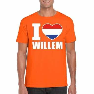 Oranje i love willem shirt heren