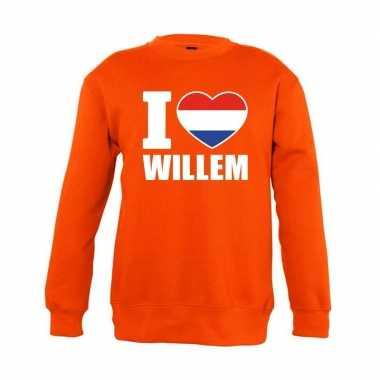 Oranje i love willem sweater kinderen