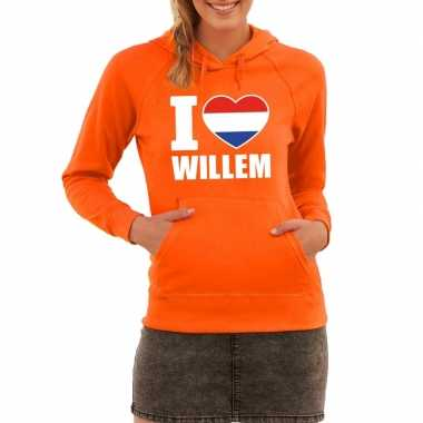 Oranje i love willem sweater met capuchon dames