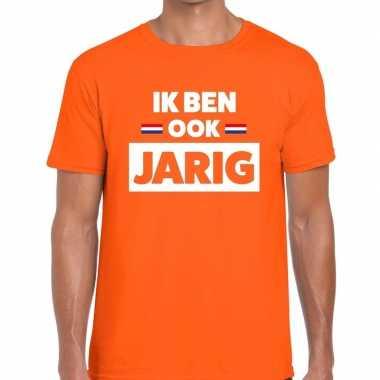 Oranje ik ben ook jarig t-shirt voor heren