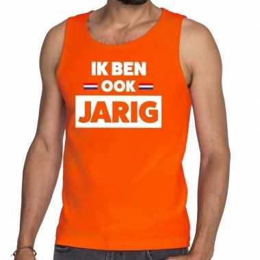 Oranje ik ben ook jarig tanktop / mouwloos shirt voor heren