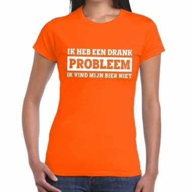Oranje ik heb een drankprobleem t-shirt voor dames