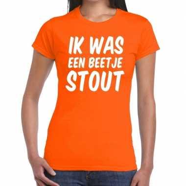 Oranje ik was een beetje stout t-shirt voor dames