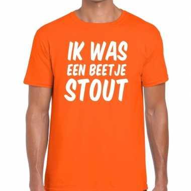 Oranje ik was een beetje stout t-shirt voor heren