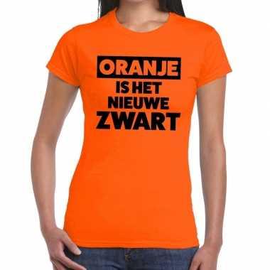 Oranje is het nieuwe zwart koningsdag t-shirt dames