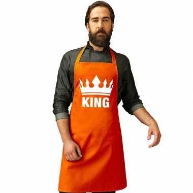Oranje king bbq schort/ keukenschort met kroon heren