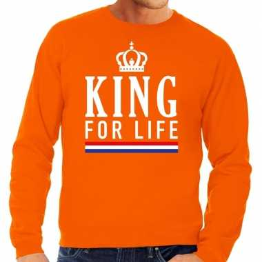 Oranje king for life sweater voor heren