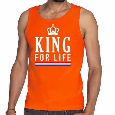 Oranje king for life tanktop / mouwloos shirt voor heren
