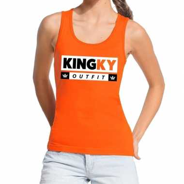 Oranje kingky outfit tanktop / mouwloos shirt voor dames