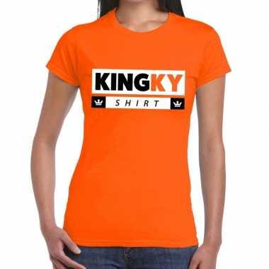 Oranje kingky t-shirt voor dames