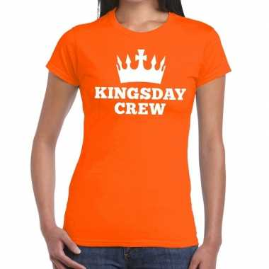 Oranje kingsday crew t-shirt voor dames
