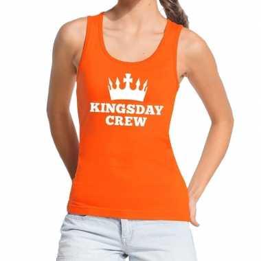 Oranje kingsday crew tanktop / mouwloos shirt voor dames
