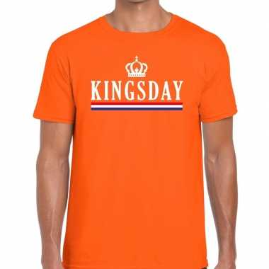 Oranje kingsday hollandse vlag t-shirt voor heren