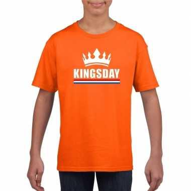 Oranje kingsday met een kroon shirt kinderen