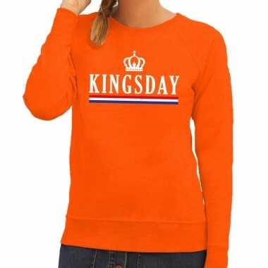 Oranje kingsday met hollandse vlag sweater voor dames