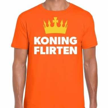 Oranje koning flirten t-shirt voor heren