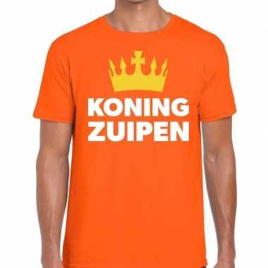 Oranje koning zuipen t-shirt voor heren