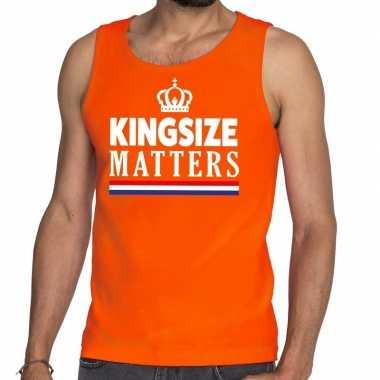 Oranje koningsdag kingsize matters tanktop voor heren