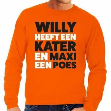 Oranje koningsdag maxi heeft een poes sweater heren