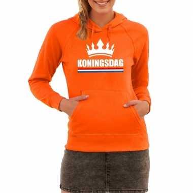 Oranje koningsdag met een kroon sweater met capuchon dames