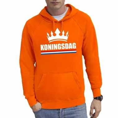 Oranje koningsdag met een kroon sweater met capuchon heren