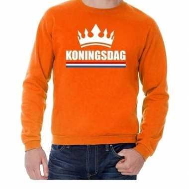Oranje koningsdag met een kroon sweater volwassenen