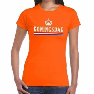 Oranje koningsdag met vlag en kroontje t-shirt voor dames