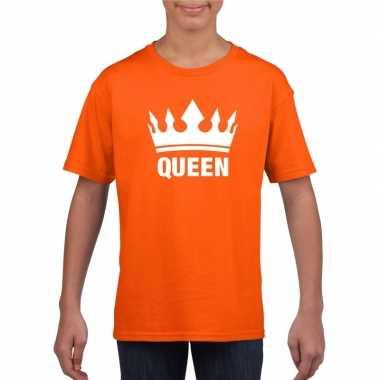 Oranje koningsdag queen shirt met kroon meisjes