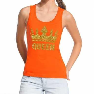 Oranje koningsdag queen tanktop met gouden glitters dames