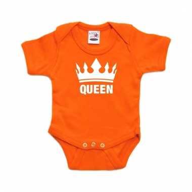 Oranje koningsdag romperje queen met kroon baby