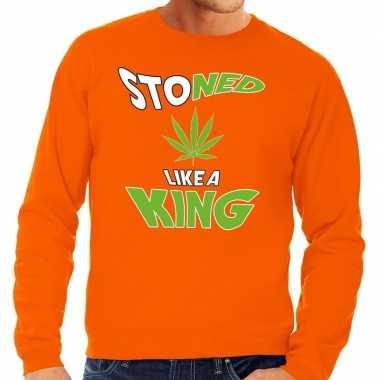 Oranje koningsdag stoned like a king sweater heren