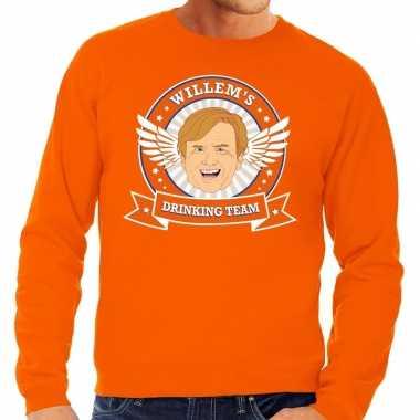 Oranje koningsdag willem drinking team sweater heren