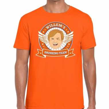 Oranje koningsdag willem drinking team t-shirt heren