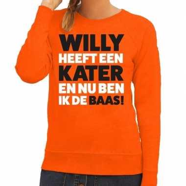Oranje koningsdag willy heeft een kater sweater dames