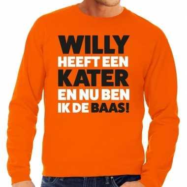 Oranje koningsdag willy heeft een kater sweater heren