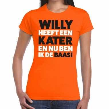 Oranje koningsdag willy heeft een kater t-shirt dames