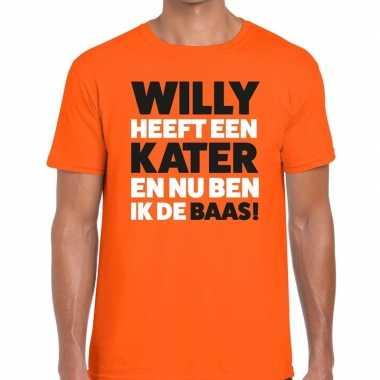 Oranje koningsdag willy heeft een kater t-shirt heren