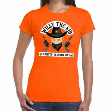 Oranje koningsdag willy the kid t-shirt dames