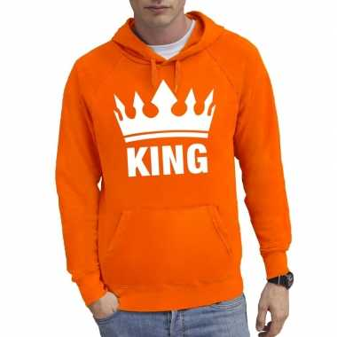 Oranje kroon met king sweater met capuchon voor heren