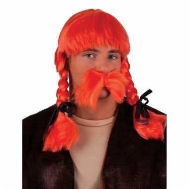 Oranje krulletjespruik met vlechten