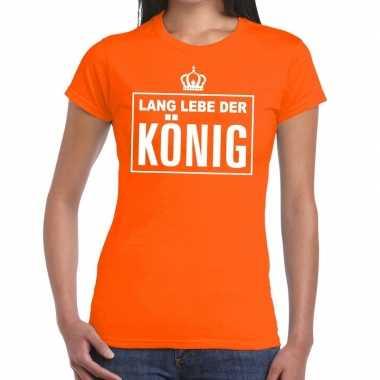 Oranje lang lebe der konig duits t-shirt dames