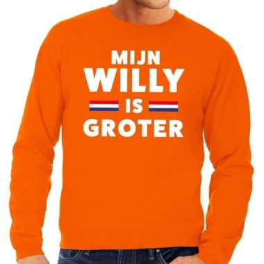 Oranje mijn willy is groter sweater voor heren