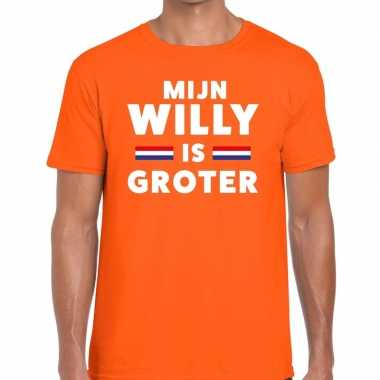 Oranje mijn willy is groter t-shirt voor heren