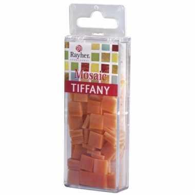 Oranje mozaiek steentjes in doosje