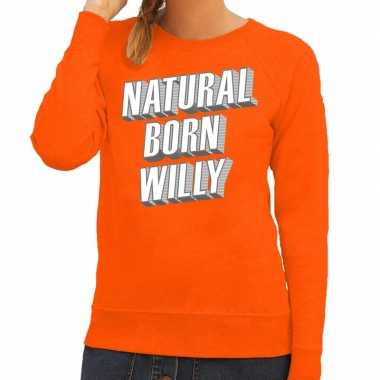 Oranje natural born willy sweater voor dames